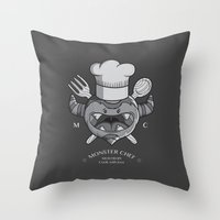 chef Throw Pillows featuring MONSTER CHEF by MostrOpi