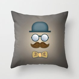 Blue Top Hat, Moustache, Glasses and Bow Tie Throw Pillow