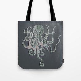 VINTAGE OCTOPUS Negative Grey Tote Bag