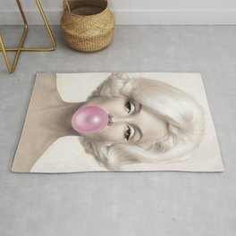 Contemporary Print - Big Pink Bubble Gum Bubble Being Blown by Mari-lyn Monroe (Colour Picture Poster Art Artwork Modern) Rug
