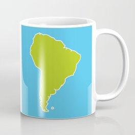 South America map blue ocean and green continent. Vector illustration Coffee Mug