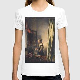 Johannes Vermeer - Girl reading a letter by an open window T-shirt