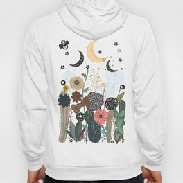 Succulents, moon and stars pattern Hoody