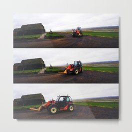 Tractor in Front of the Old Farmhouse at Hofsstaðir in Northern Iceland Metal Print
