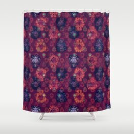 Lotus flower - fire on mulberry woodblock print style pattern Shower Curtain