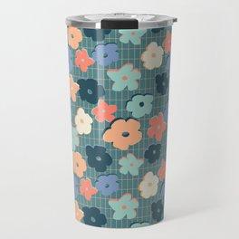 Peach and Aqua Flower Grid Travel Mug