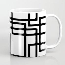 Interlocking Black Squares Artistic Design Coffee Mug