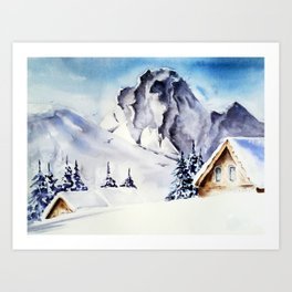 Winter- watercolor Art Print