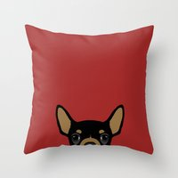 chihuahua Throw Pillows featuring Chihuahua by Anne Was Here