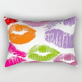 Colorful Lipstick Kisses Lip Color Rectangular Pillow