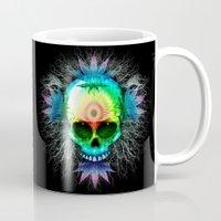 marijuana Mugs featuring Marijuana Psychedelic Skull by BluedarkArt