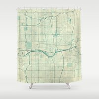 oklahoma Shower Curtains featuring Oklahoma City Map Blue Vintage by City Art Posters