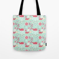 whales Tote Bags featuring Whales by Bexie Doodles