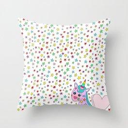 Rainbow the Unicorn Starstruck Throw Pillow