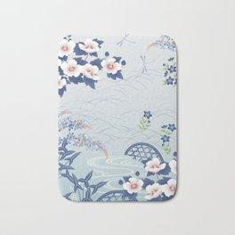 Elegant Light Blue Japanese Flower Garden Bath Mat
