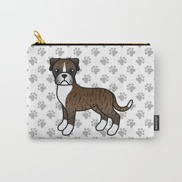 Cute Brindle Boxer Dog Cartoon Illustration Carry-All Pouch
