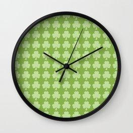 Greenery Shamrock Clover Polka dots St. Patrick's Day Wall Clock