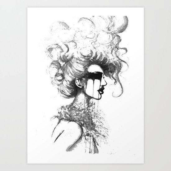 Cry- B&W // Fashion Illustration Art Print