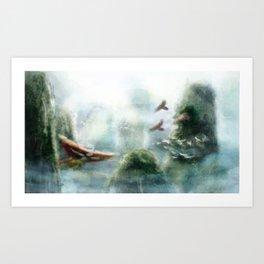 Flight through the Mountains Art Print