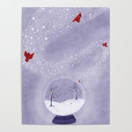 Cardinals in Snow Globe Poster