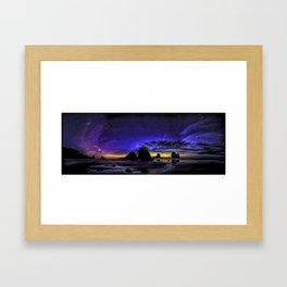 Night at Motukiekie Beach Pano In Greymouth West Coast New Zealand By OLena Art Framed Art Print