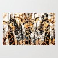 giraffes Area & Throw Rugs featuring Giraffes by RIZA PEKER