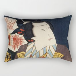 One of the portrait from the collection of portraits Portraits of Actors by Toyohara Kunichika (1835 Rectangular Pillow