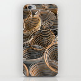 Black, white and orange spiraled coils iPhone Skin