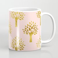 gold foil Mugs featuring Pink Gold Foil 02 by Aloke Design