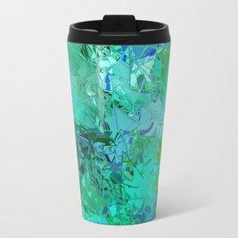 Blue Green Fractured Paint Swirls Travel Mug