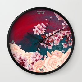 Full Bloom | Cherry pink Warhol Wall Clock