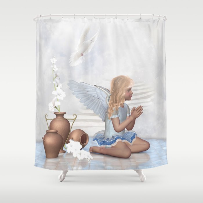 Praying Angel Shower Curtain By Simonegatterwe