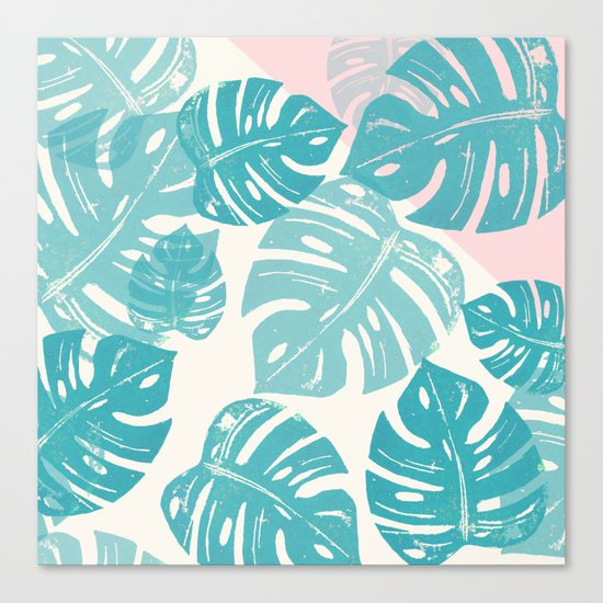Linocut Monstera Rosy Canvas Print