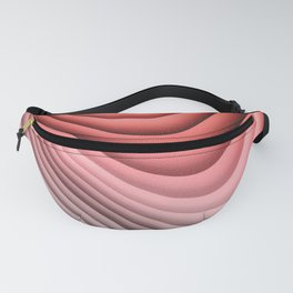 Plush Abstract Folds in Warm Peach, Coral & Gray Fanny Pack