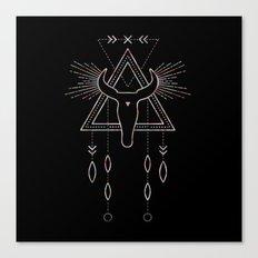 Mandala Tribal Bull - Ethnic Watercolor Geometric Animal Art Design Canvas Print