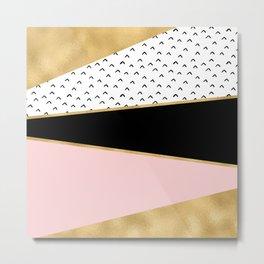 Pink & Gold Geometric Triangle Pattern Metal Print