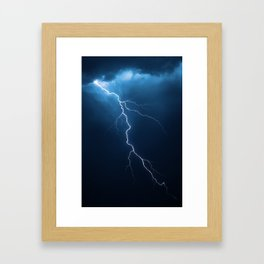 Lightning with dramatic cloudscape Framed Art Print