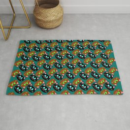 smile funny cat face red and white pattern on blue background Rug