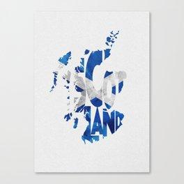 Scotland Typographic Flag / Map Art Canvas Print