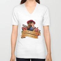 agent carter V-neck T-shirts featuring Agent Carter Vintage Tattoo Dark by Bonnie Detwiller