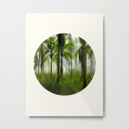 Mid Century Modern Round Circle Photo Graphic Design Tropical Palm Tree Forest Metal Print