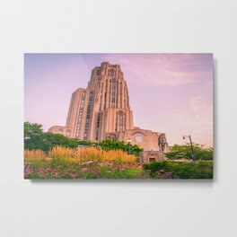 Pittsburgh Cathedral Of Learning Flower Garden Metal Print