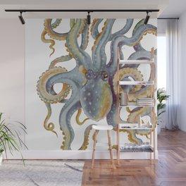 Octopus Tentacles Steel Blue Watercolor Art Wall Mural