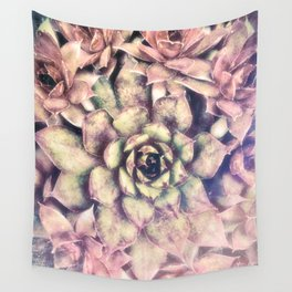 Sempervivum, Succulent Red  Mandala Wall Tapestry