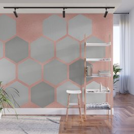 Honeycomb on Rose Gold Wall Mural