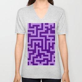 Lavender Violet and Indigo Violet Labyrinth Unisex V-Neck