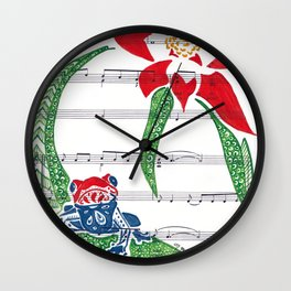 Coqui   (South American Poison Dart Frog with flower on sheet music) Wall Clock