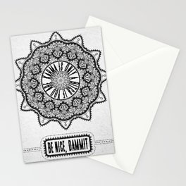 Karma is Only a B**ch if You Are - Be Nice, D***it - Mandala in Black & White Stationery Cards