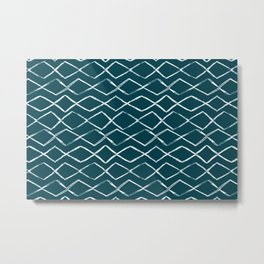Tropical Dark Teal Inspired by Sherwin Williams 2020 Trending Color Oceanside SW6496 Tribal Chevron Horizontal Stripe Pattern Metal Print