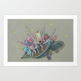 Oswald Cornelius Chim-Cham the Unbirthday Turtle Art Print